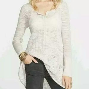 Free People Sheer Button Ribbed Pink Beige Henley